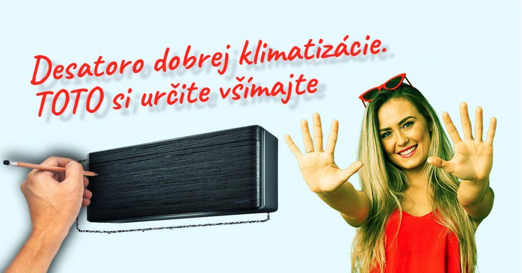 Klimatizacia Daikin s blondynou ukazujucou 10 prstov